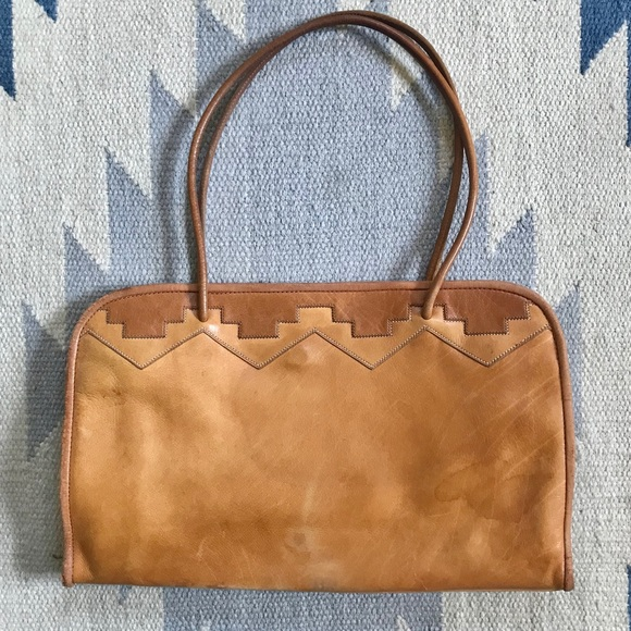 Vintage Bags | Leather Handbag With Southwestern